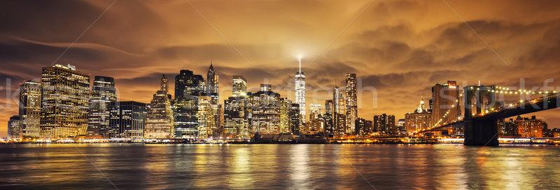 Manhattan naplemente New York kilátás épület kék Stock fotó © vwalakte