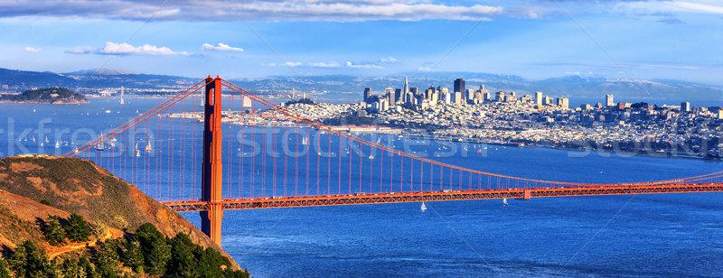 パノラマ 表示 有名な ゴールデンゲートブリッジ タウン サンフランシスコ ストックフォト © vwalakte