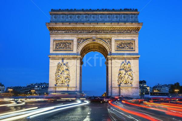 Arc triomphe nuit Paris France bâtiment Photo stock © vwalakte