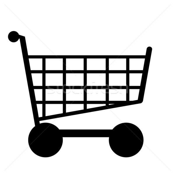 Illustratie winkelwagen zwart wit internet web store Stockfoto © w20er