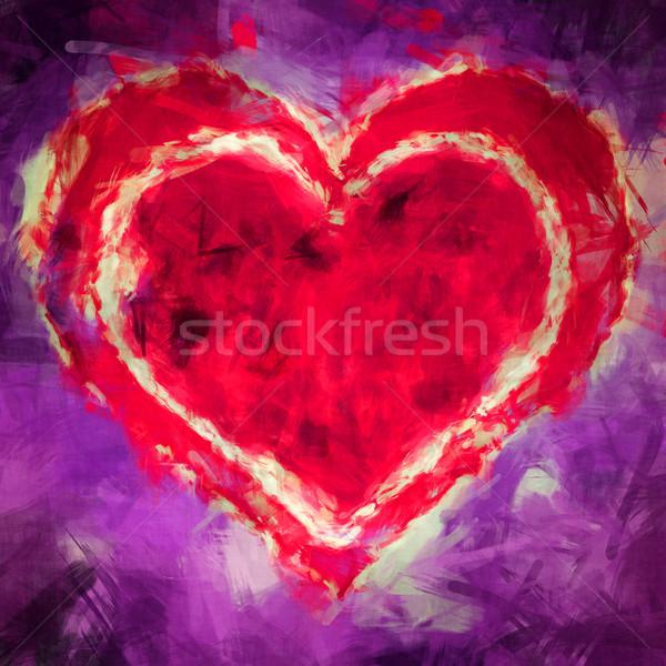 иллюстрация сердце графических красный Purple синий Сток-фото © w20er