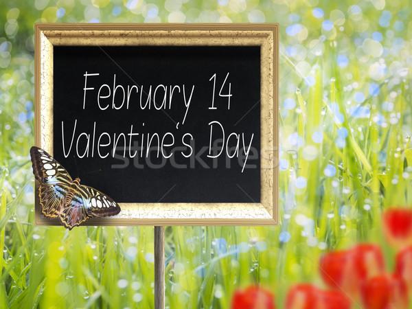 Kara tahta metin 14 sevgililer günü çayır Stok fotoğraf © w20er