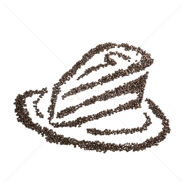 Grão de café bolo imagem grãos de café isolado branco Foto stock © w20er