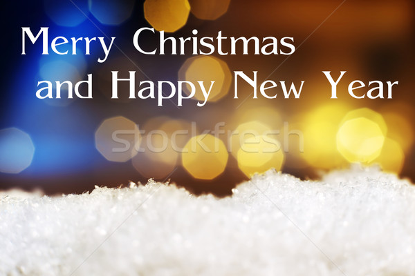 snow with lights Merry Christmas Happy New Year Stock photo © w20er