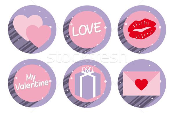 Ayarlamak valentine etiket kalpler metin sevmek Stok fotoğraf © w20er