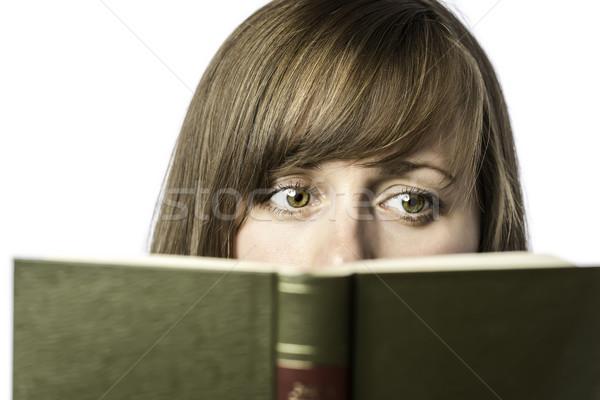 Gyönyörű nő olvas könyv fiatal izolált fehér Stock fotó © w20er