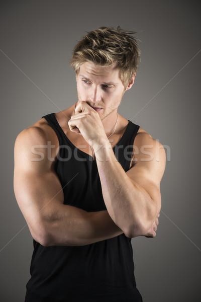 Blond handsome man in black shirt Stock photo © w20er