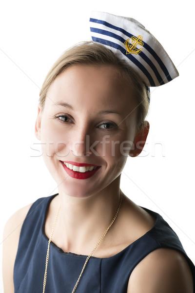 Ritratto donna marinaio costume isolato Foto d'archivio © w20er