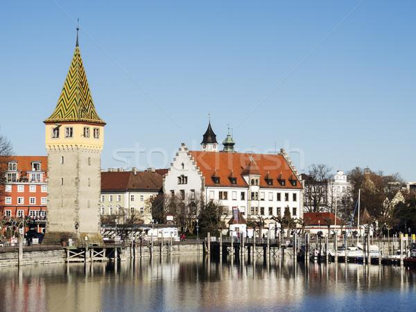 Porto edifícios imagem lago céu cidade Foto stock © w20er