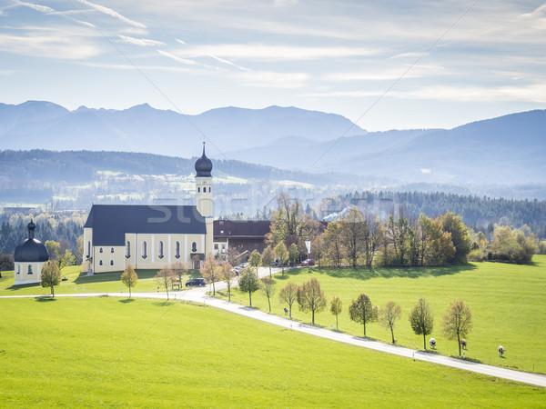 Kerk bedevaart landschap bloem voorjaar gras Stockfoto © w20er