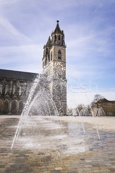 Cathedral Magdeburg with water fountain Stock photo © w20er