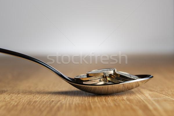 Euro madeni para kaşık görüntü gümüş para Stok fotoğraf © w20er