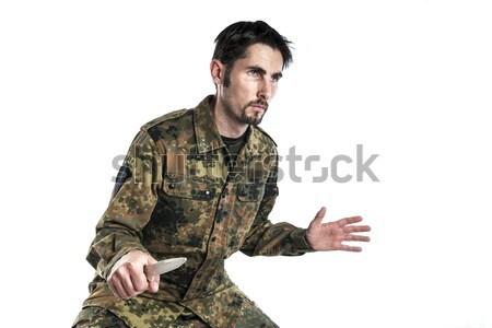 инструктор ножом мужчины осуществлять Сток-фото © w20er