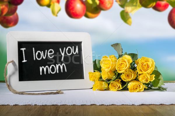 slate blackboard love mum and roses Stock photo © w20er