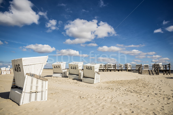 Beach charis on sand beach in St. Peter-Ording Stock photo © w20er
