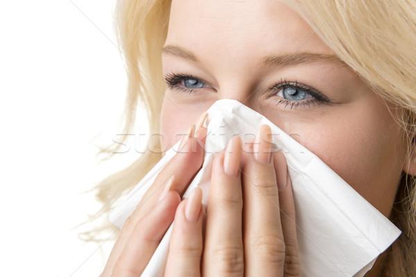Beteg nő papírzsebkendő portré szőke papír Stock fotó © w20er