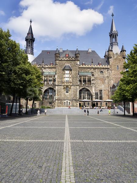 Stadhuis afbeelding zon ontwerp Blauw architectuur Stockfoto © w20er