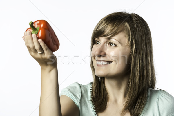 Young woman looks at papper Stock photo © w20er