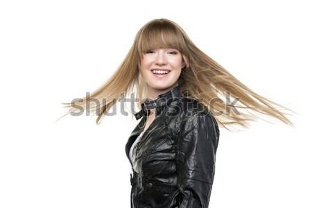 Kadın sarışın saç kız siyah Stok fotoğraf © w20er