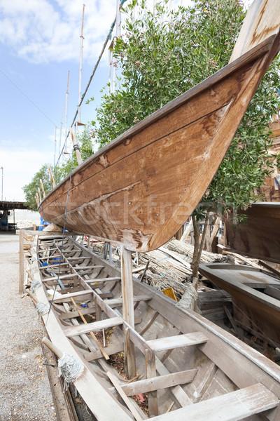 Omán hagyományos égbolt fa építkezés tenger Stock fotó © w20er
