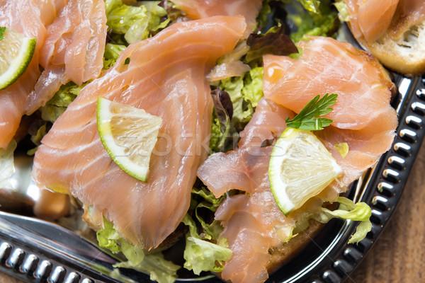 Lazac szendvicsek kép citrus adag tányér Stock fotó © w20er