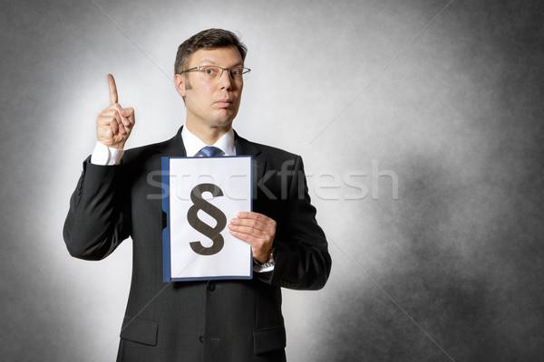 Geschäftsmann Ordner Absatz Zeichen dunkel Anzug Stock foto © w20er