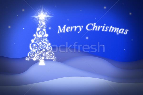 Niebieski christmas obraz nice drzewo szczęśliwy Zdjęcia stock © w20er