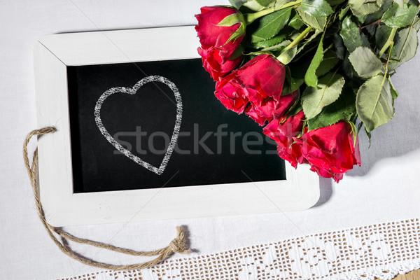 slate blackboard heart Stock photo © w20er