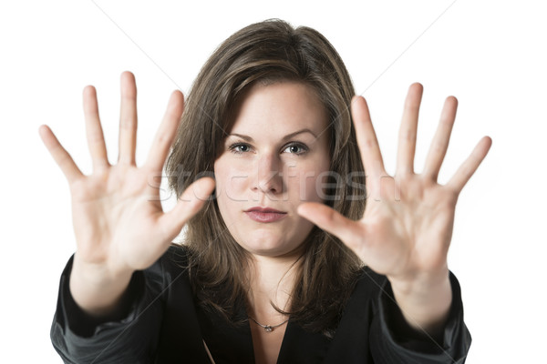 Stock photo: Business woman hand stop