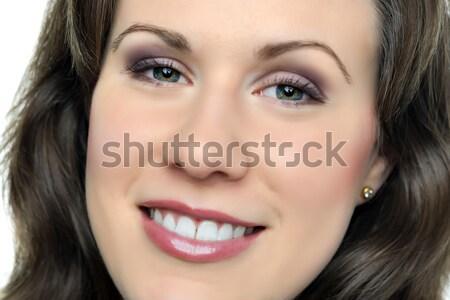 Portre gülümseyen kadın yüz esmer gülümseme saç Stok fotoğraf © w20er