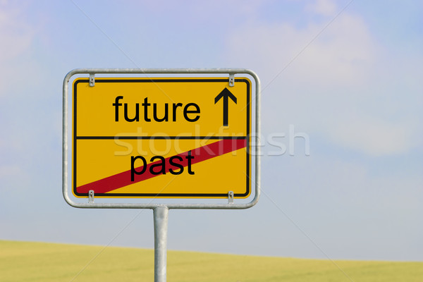 знак прошлое будущем желтый города текста Сток-фото © w20er