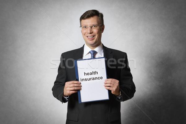 Homem de negócios seguro de saúde feliz empresário contrato Foto stock © w20er
