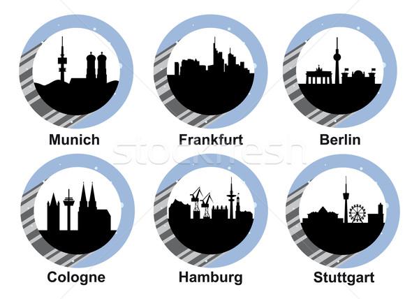 ストックフォト: 都市 · ベクトル · スカイライン · ミュンヘン · フランクフルト