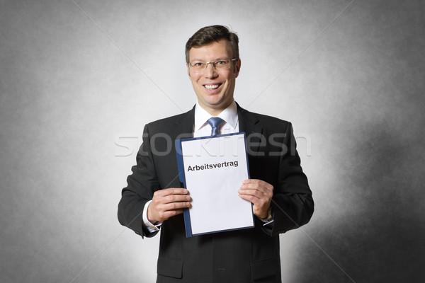 üzletember foglalkoztatás szerződés boldog nő üzletember Stock fotó © w20er
