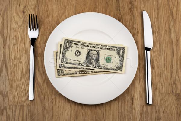 Plaat afbeelding mes vork business Stockfoto © w20er