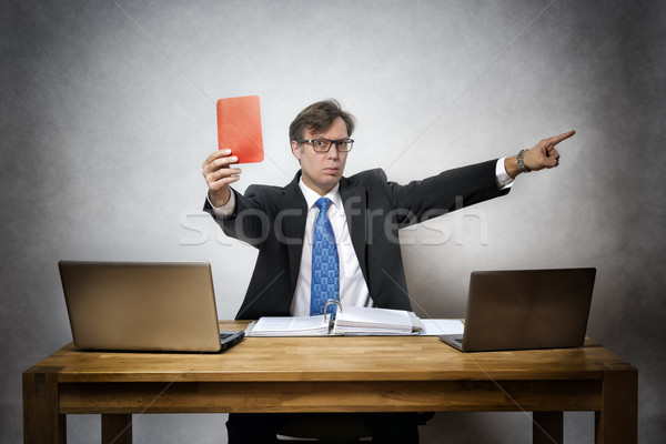 Angry business man with red card Stock photo © w20er