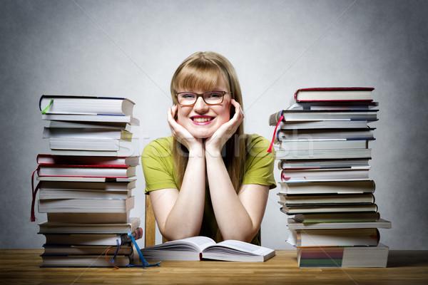 Boldog női diák könyvek fiatal szemüveg Stock fotó © w20er
