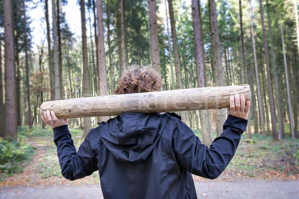 Stockfoto: Vrouw · fitness · bos · afbeelding · gezondheid · achtergrond
