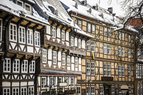 Closeup half-timbered houses in Goslar, Germany Stock photo © w20er