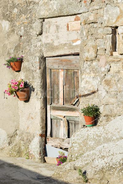 Ajtó Toszkána kép Olaszország naplemente ház Stock fotó © w20er