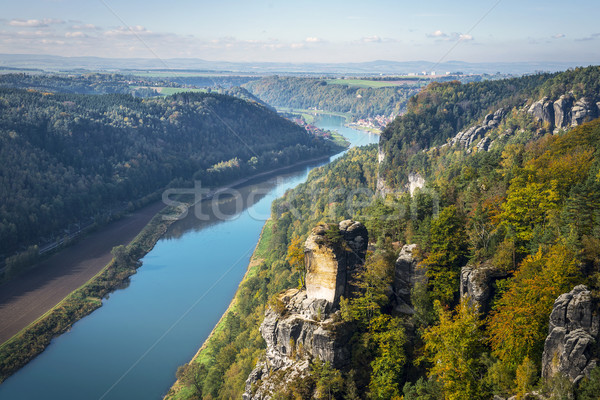 View from viewpoint of Bastei in Saxon Switzerland Germany to th Stock photo © w20er
