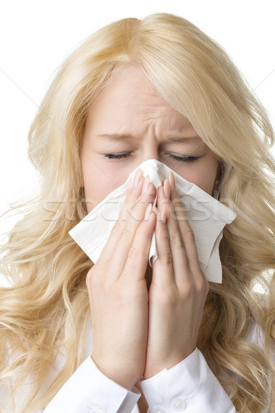 Ill woman with tissue is sneezing Stock photo © w20er