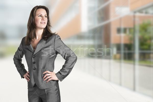 Iş kadını ofis gri takım elbise ofis binası kadın Stok fotoğraf © w20er