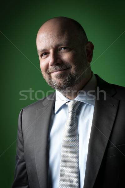 Kellemes üzletember kép üzletember kopasz fej Stock fotó © w20er