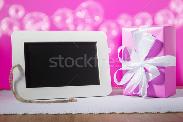 slate blackboard gift pink Stock photo © w20er
