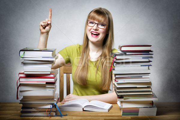 happy student woman with books Stock photo © w20er