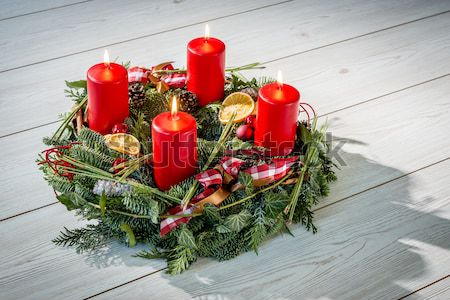 Advent wreath with red candles Stock photo © w20er