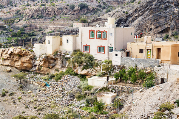 Casas planalto imagem Omã estrada natureza Foto stock © w20er