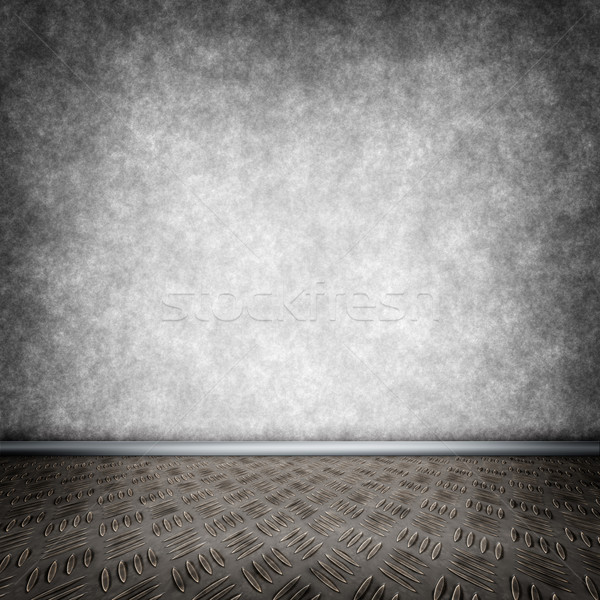 Dark room with metal floor Stock photo © w20er