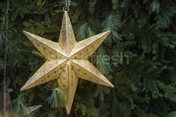 Dekoráció arany csillag karácsony piac kép Stock fotó © w20er